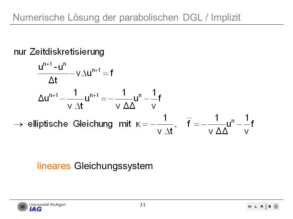 31 Numerische Lösung der parabolischen DGL / Implizit lineares Gleichungssystem