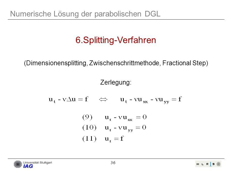 36 6.Splitting-Verfahren (Dimensionensplitting, Zwischenschrittmethode, Fractional Step) Zerlegung: Numerische Lösung der parabolischen DGL