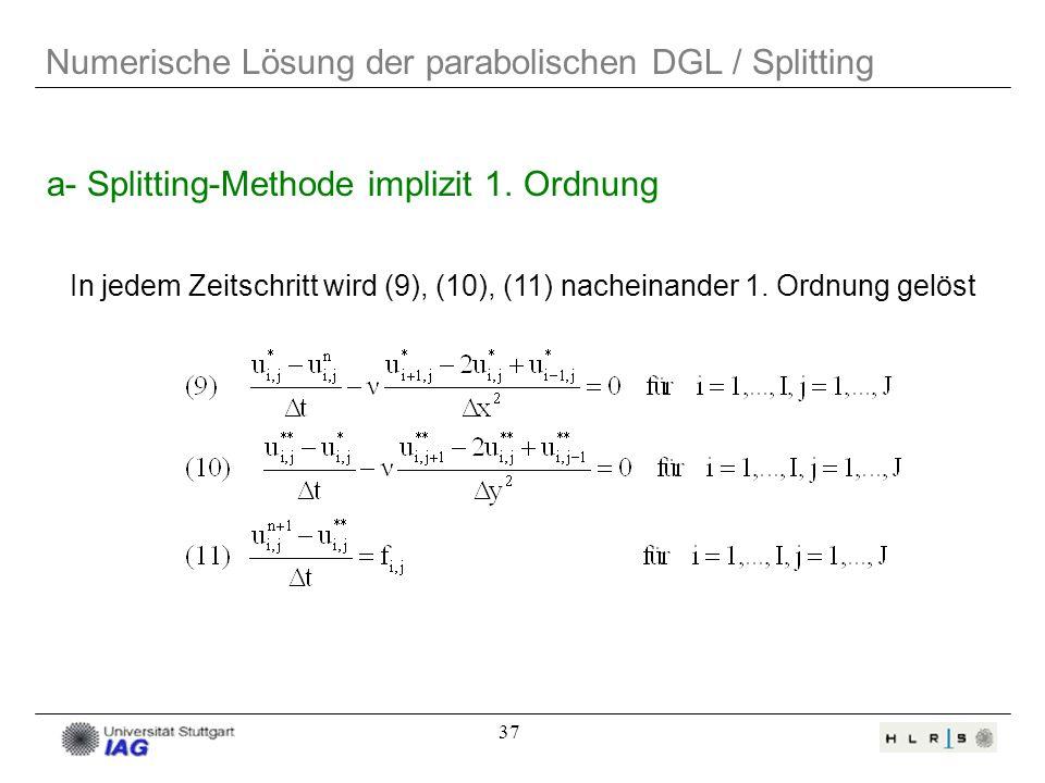 37 Numerische Lösung der parabolischen DGL / Splitting In jedem Zeitschritt wird (9), (10), (11) nacheinander 1. Ordnung gelöst a- Splitting-Methode i