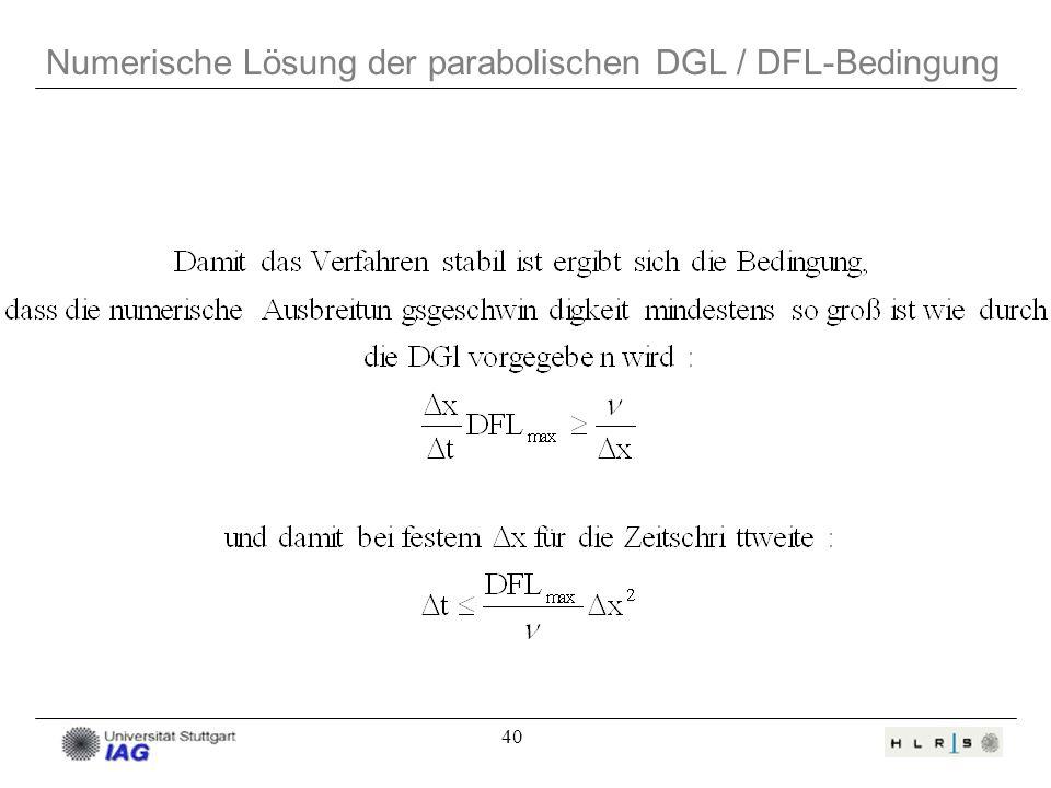 40 Numerische Lösung der parabolischen DGL / DFL-Bedingung
