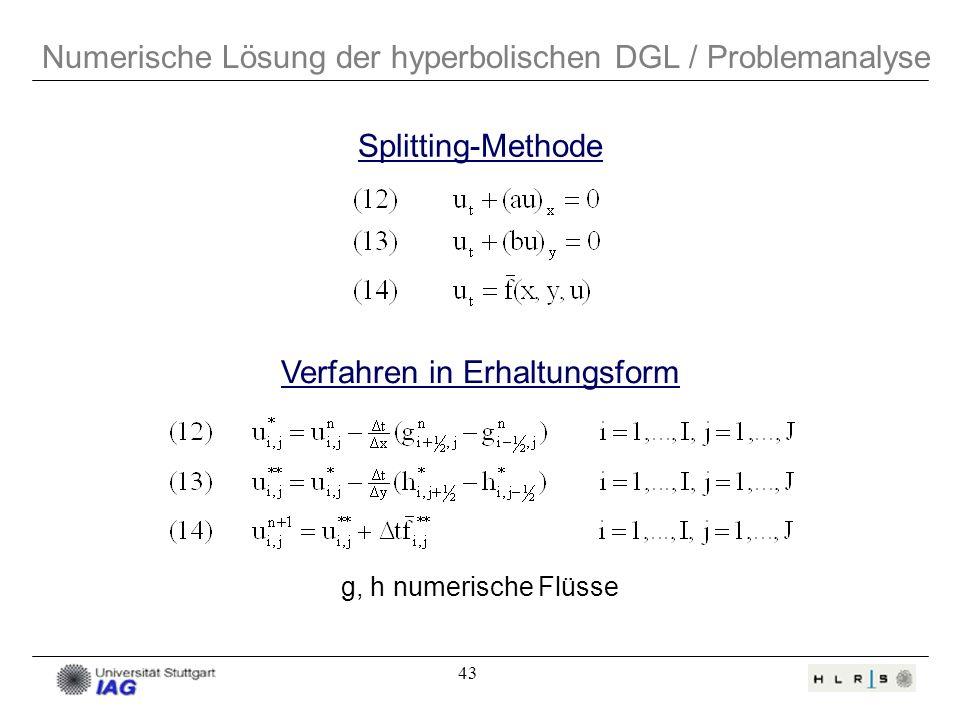 43 Numerische Lösung der hyperbolischen DGL / Problemanalyse Splitting-Methode Verfahren in Erhaltungsform g, h numerische Flüsse