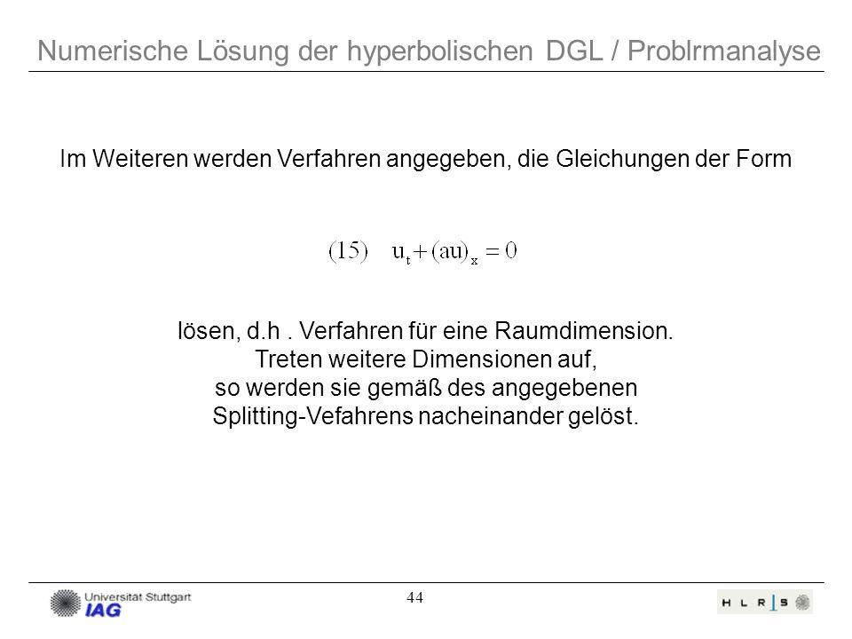 44 Numerische Lösung der hyperbolischen DGL / Problrmanalyse Im Weiteren werden Verfahren angegeben, die Gleichungen der Form lösen, d.h. Verfahren fü
