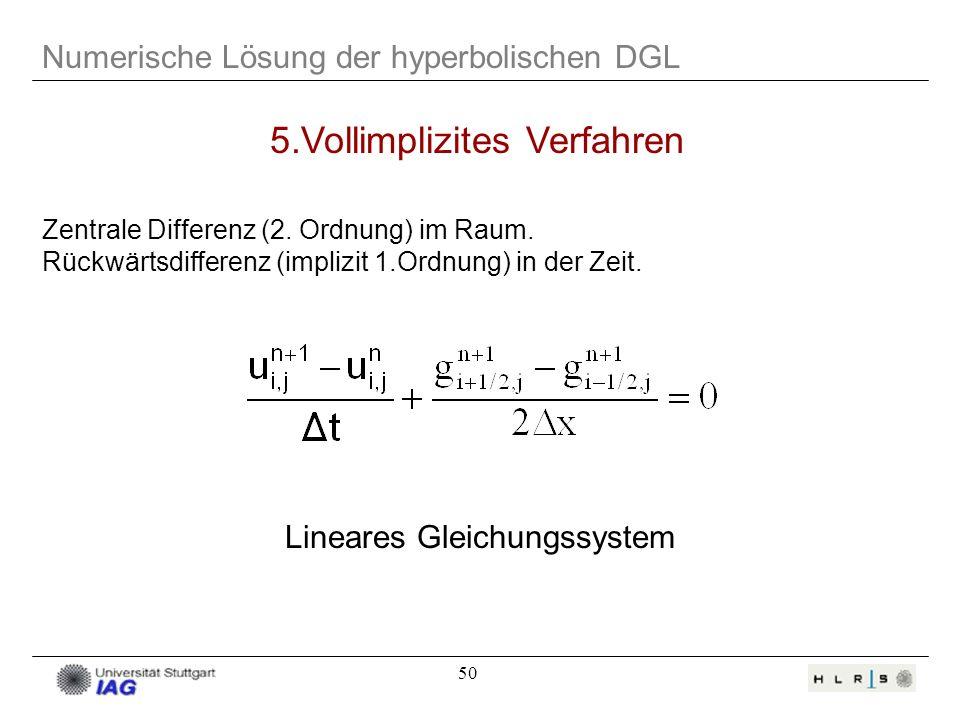 50 Numerische Lösung der hyperbolischen DGL 5.Vollimplizites Verfahren Lineares Gleichungssystem Zentrale Differenz (2. Ordnung) im Raum. Rückwärtsdif