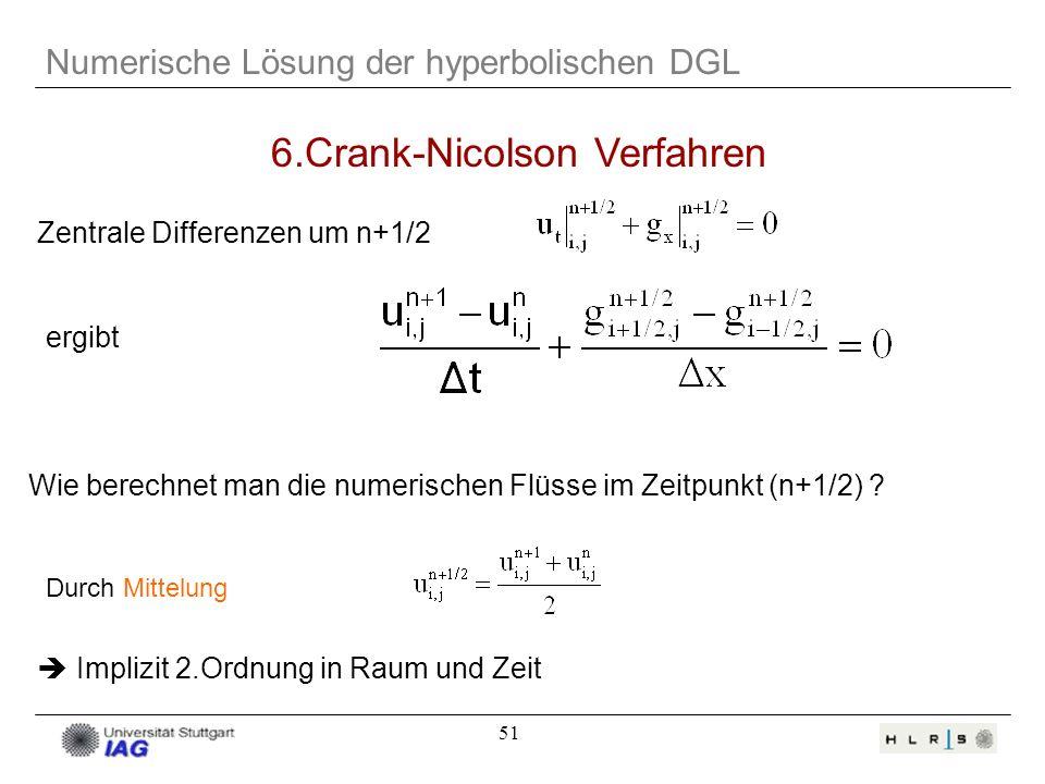 51 Numerische Lösung der hyperbolischen DGL 6.Crank-Nicolson Verfahren Durch Mittelung Implizit 2.Ordnung in Raum und Zeit Zentrale Differenzen um n+1