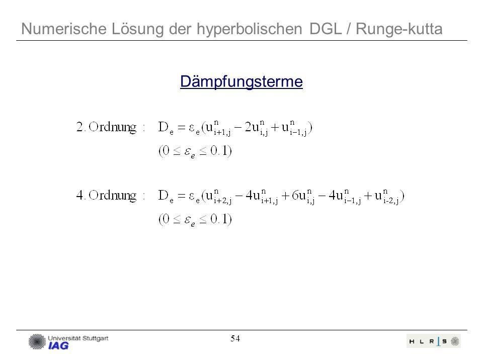 54 Dämpfungsterme Numerische Lösung der hyperbolischen DGL / Runge-kutta