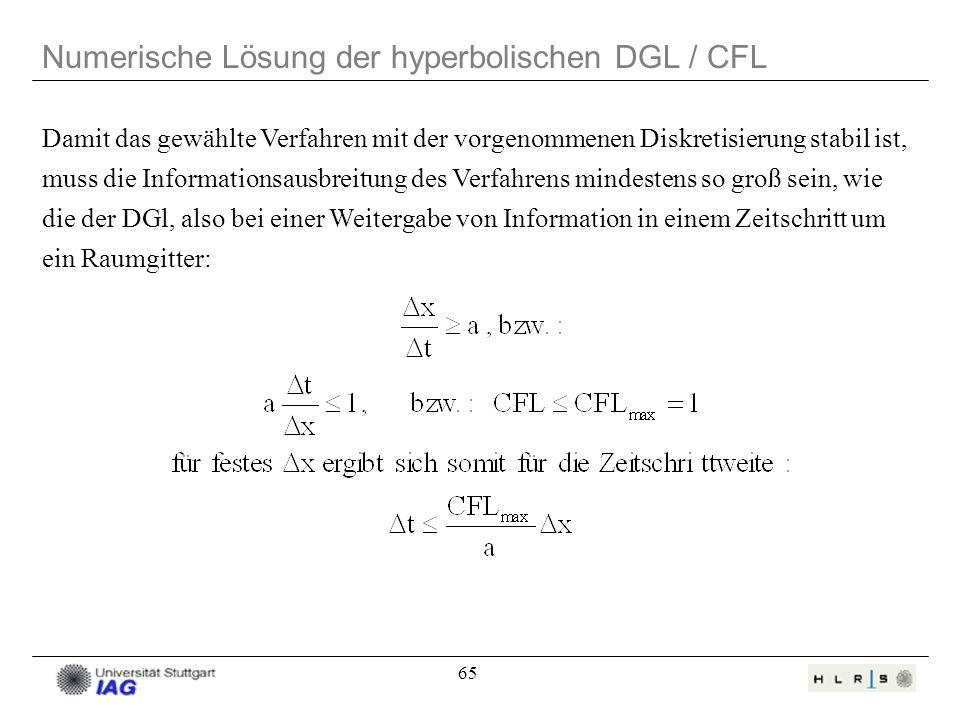 65 Numerische Lösung der hyperbolischen DGL / CFL Damit das gewählte Verfahren mit der vorgenommenen Diskretisierung stabil ist, muss die Informations