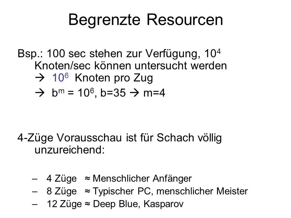 Begrenzte Resourcen Bsp.: 100 sec stehen zur Verfügung, 10 4 Knoten/sec können untersucht werden 10 6 Knoten pro Zug b m = 10 6, b=35 m=4 4-Züge Vorau