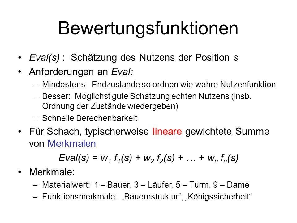 Bewertungsfunktionen Eval(s) : Schätzung des Nutzens der Position s Anforderungen an Eval: –Mindestens: Endzustände so ordnen wie wahre Nutzenfunktion