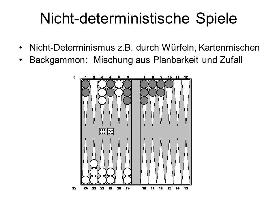 Nicht-deterministische Spiele Nicht-Determinismus z.B. durch Würfeln, Kartenmischen Backgammon: Mischung aus Planbarkeit und Zufall