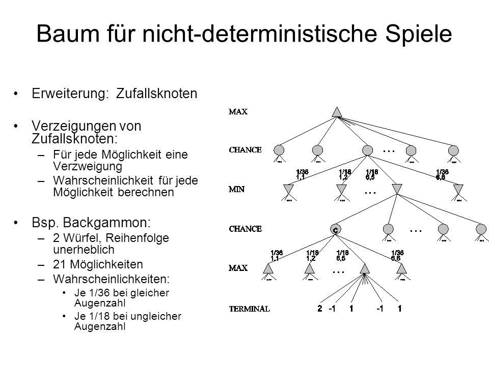 Baum für nicht-deterministische Spiele Erweiterung: Zufallsknoten Verzeigungen von Zufallsknoten: –Für jede Möglichkeit eine Verzweigung –Wahrscheinli