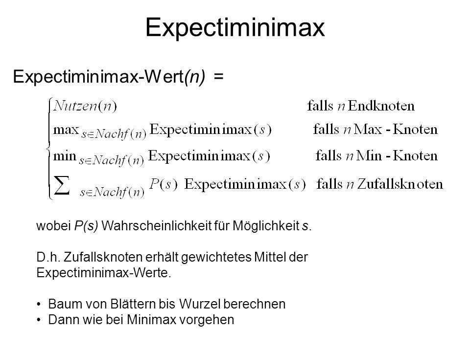Expectiminimax Expectiminimax-Wert(n) = wobei P(s) Wahrscheinlichkeit für Möglichkeit s. D.h. Zufallsknoten erhält gewichtetes Mittel der Expectiminim