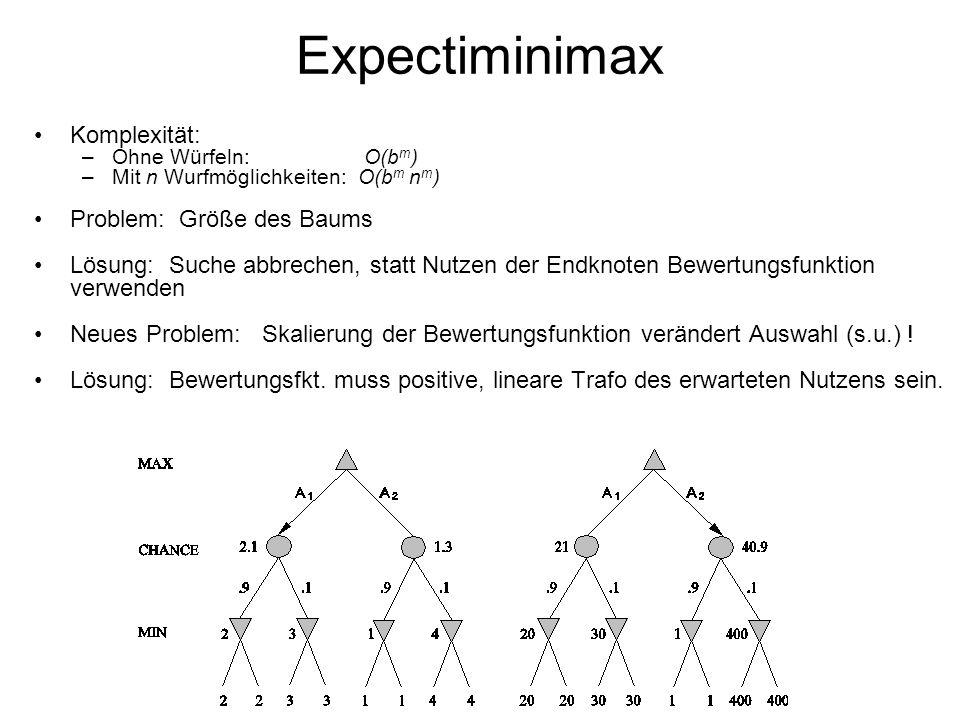 Expectiminimax Komplexität: –Ohne Würfeln: O(b m ) –Mit n Wurfmöglichkeiten: O(b m n m ) Problem: Größe des Baums Lösung: Suche abbrechen, statt Nutze