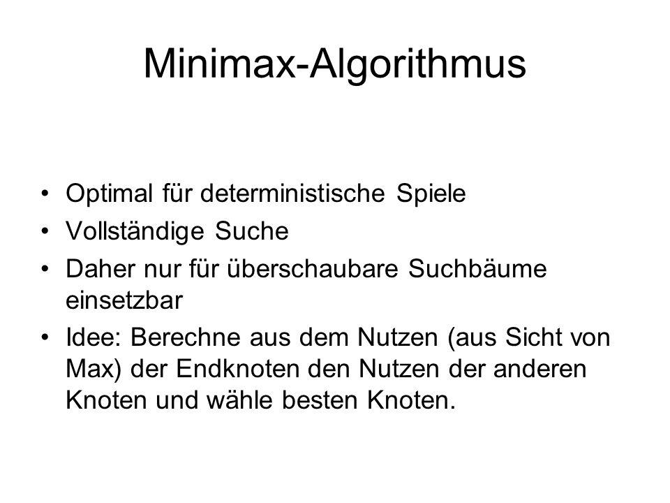 Minimax-Algorithmus Optimal für deterministische Spiele Vollständige Suche Daher nur für überschaubare Suchbäume einsetzbar Idee: Berechne aus dem Nut