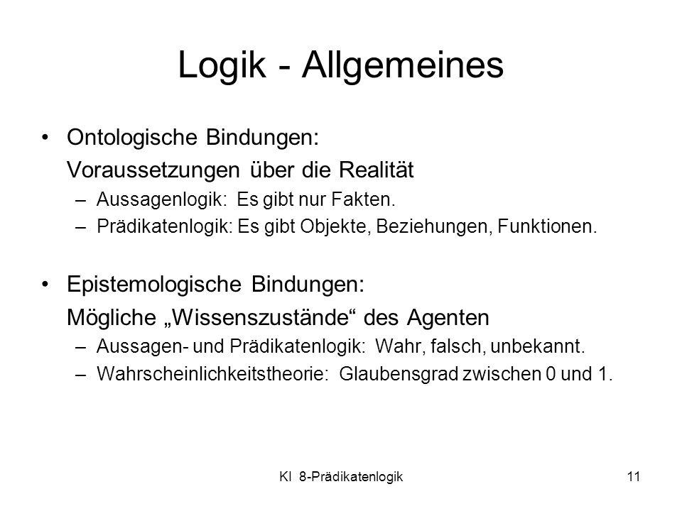 KI 8-Prädikatenlogik11 Logik - Allgemeines Ontologische Bindungen: Voraussetzungen über die Realität –Aussagenlogik: Es gibt nur Fakten. –Prädikatenlo