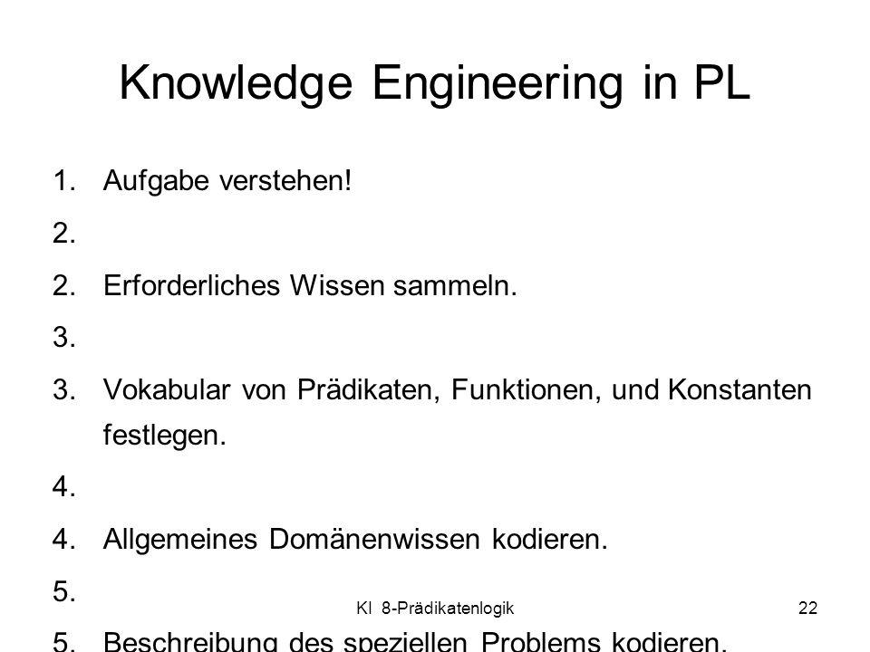 KI 8-Prädikatenlogik22 Knowledge Engineering in PL 1.Aufgabe verstehen! 2.Erforderliches Wissen sammeln. 3.Vokabular von Prädikaten, Funktionen, und K