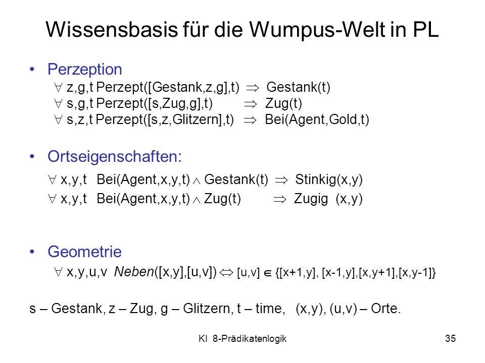 KI 8-Prädikatenlogik35 Wissensbasis für die Wumpus-Welt in PL Perzeption z,g,t Perzept([Gestank,z,g],t) Gestank(t) s,g,t Perzept([s,Zug,g],t) Zug(t) s