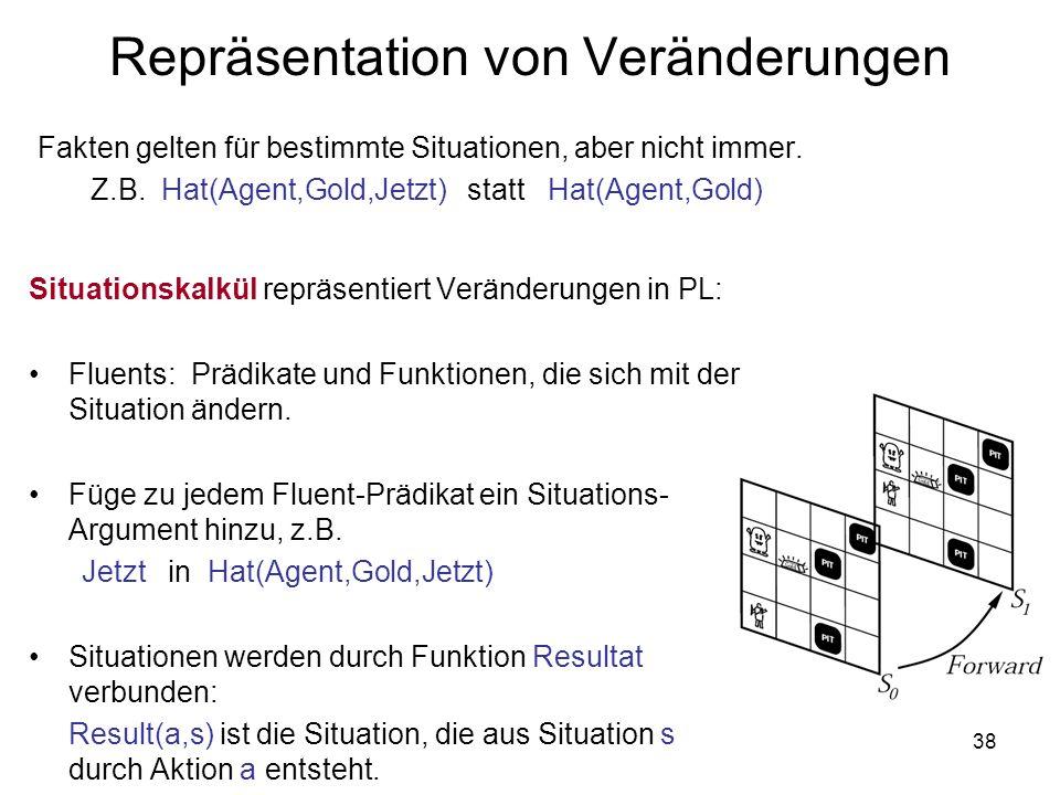 38 Repräsentation von Veränderungen Situationskalkül repräsentiert Veränderungen in PL: Fluents: Prädikate und Funktionen, die sich mit der Situation
