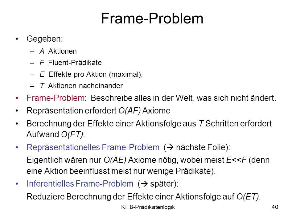 KI 8-Prädikatenlogik40 Frame-Problem Gegeben: –A Aktionen –F Fluent-Prädikate –E Effekte pro Aktion (maximal), –T Aktionen nacheinander Frame-Problem: