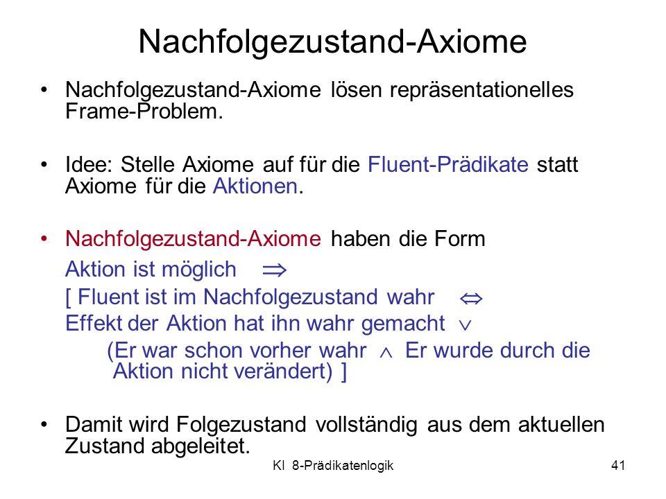 KI 8-Prädikatenlogik41 Nachfolgezustand-Axiome lösen repräsentationelles Frame-Problem. Idee: Stelle Axiome auf für die Fluent-Prädikate statt Axiome