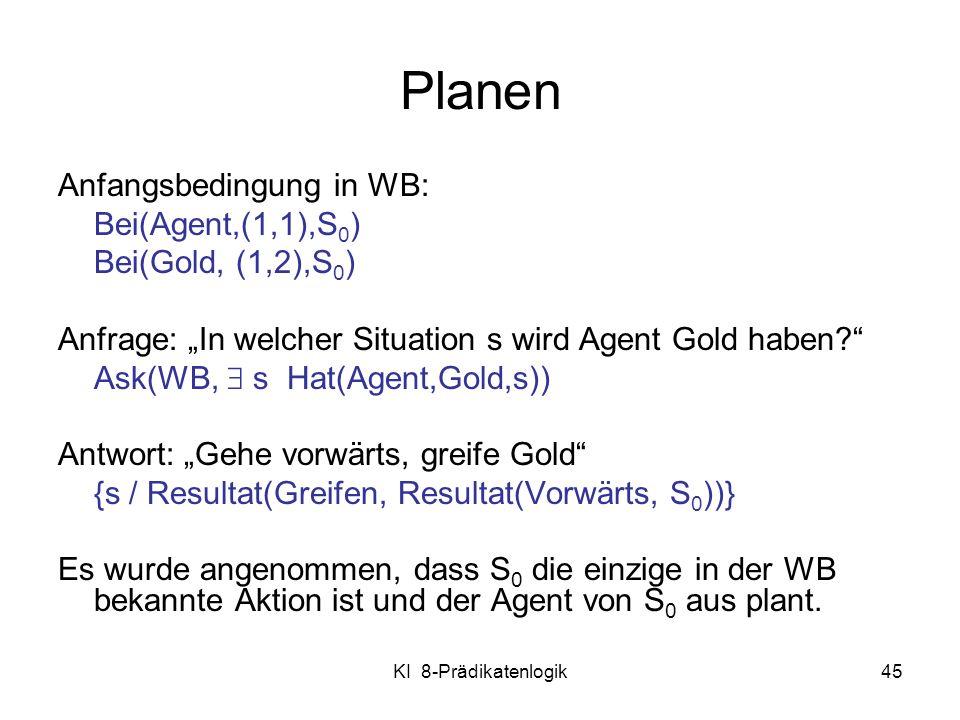 KI 8-Prädikatenlogik45 Planen Anfangsbedingung in WB: Bei(Agent,(1,1),S 0 ) Bei(Gold, (1,2),S 0 ) Anfrage: In welcher Situation s wird Agent Gold habe