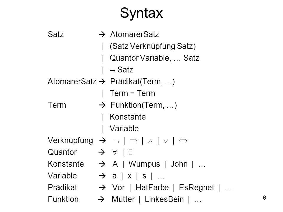 6 Syntax Satz AtomarerSatz | (Satz Verknüpfung Satz) | Quantor Variable, … Satz | Satz AtomarerSatz Prädikat(Term, …) | Term = Term Term Funktion(Term
