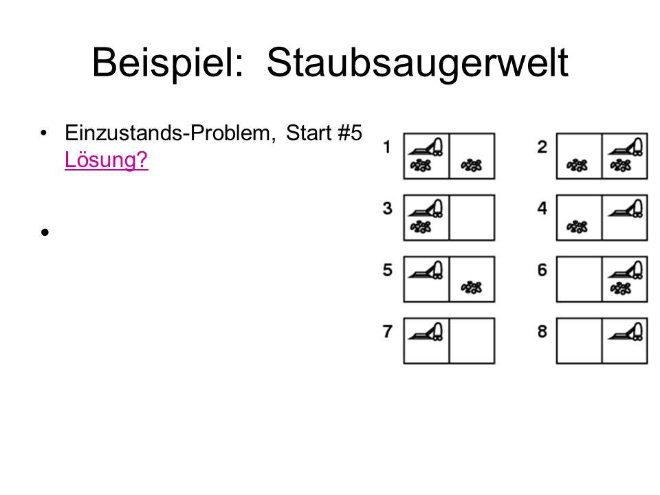 Beispiel: Staubsaugerwelt Einzustands-Problem, Start #5 Lösung?
