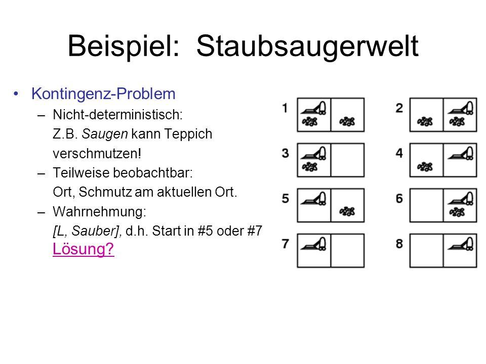 Beispiel: Staubsaugerwelt Kontingenz-Problem –Nicht-deterministisch: Z.B. Saugen kann Teppich verschmutzen! –Teilweise beobachtbar: Ort, Schmutz am ak