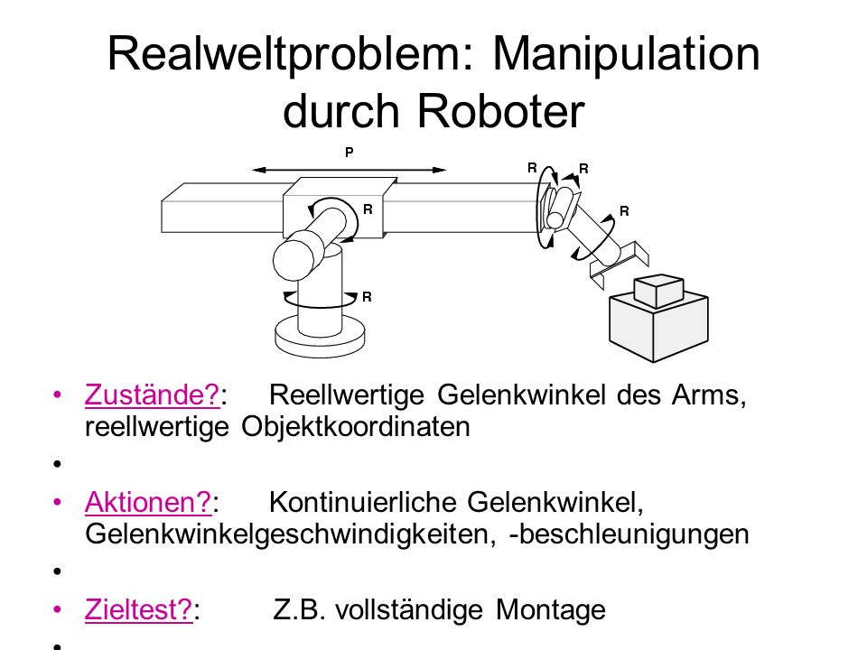 Realweltproblem: Manipulation durch Roboter Zustände?: Reellwertige Gelenkwinkel des Arms, reellwertige Objektkoordinaten Aktionen?: Kontinuierliche G
