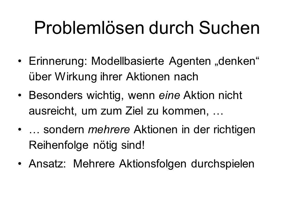 Formulierung des Single-State Problems Nach Festlegen der Zustände ist ein Problem definiert durch vier Punkte: 1.Anfangszustand, z.B.