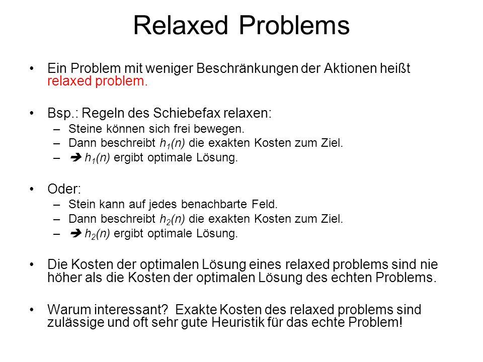 Relaxed Problems Ein Problem mit weniger Beschränkungen der Aktionen heißt relaxed problem. Bsp.: Regeln des Schiebefax relaxen: –Steine können sich f
