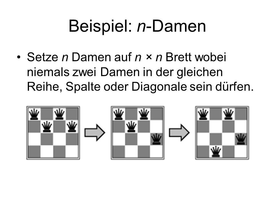 Beispiel: n-Damen Setze n Damen auf n × n Brett wobei niemals zwei Damen in der gleichen Reihe, Spalte oder Diagonale sein dürfen.