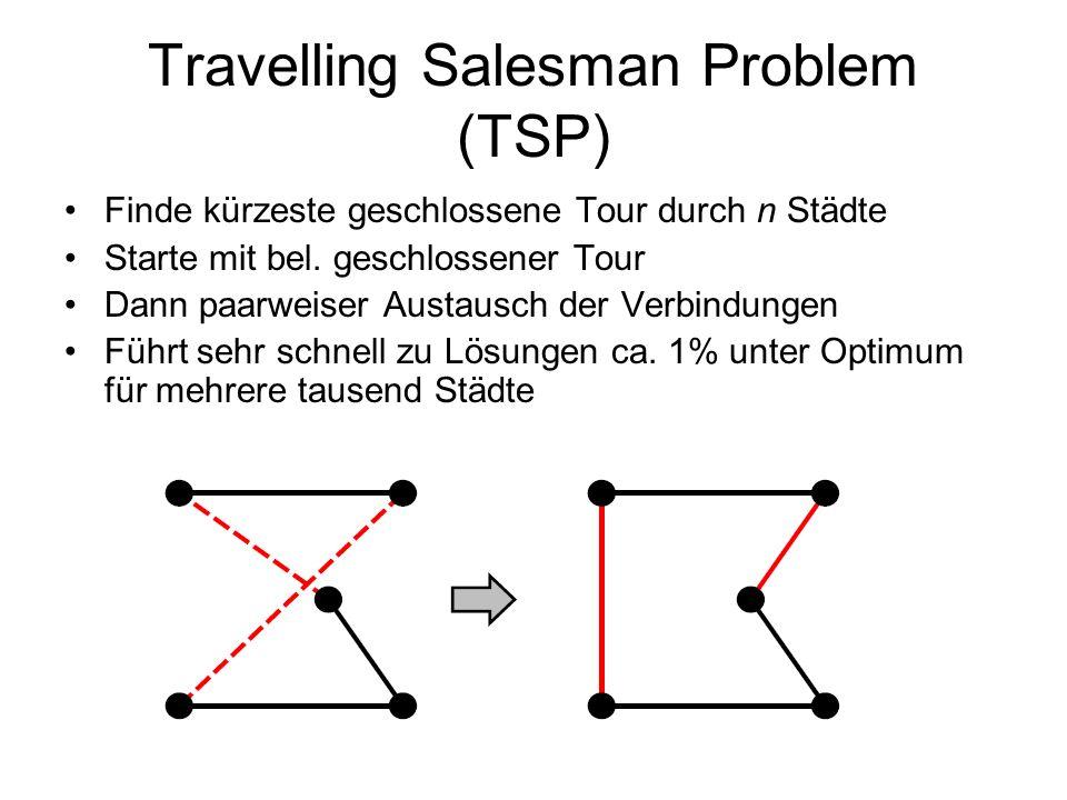 Travelling Salesman Problem (TSP) Finde kürzeste geschlossene Tour durch n Städte Starte mit bel. geschlossener Tour Dann paarweiser Austausch der Ver