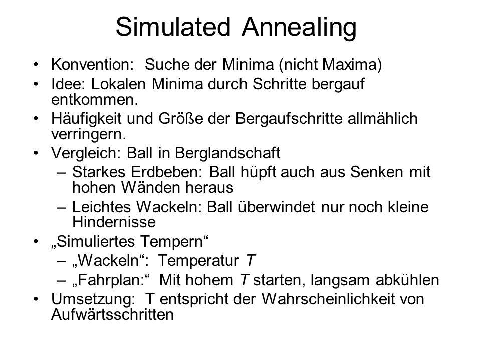 Simulated Annealing Konvention: Suche der Minima (nicht Maxima) Idee: Lokalen Minima durch Schritte bergauf entkommen. Häufigkeit und Größe der Bergau