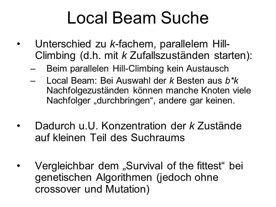 Local Beam Suche Unterschied zu k-fachem, parallelem Hill- Climbing (d.h. mit k Zufallszuständen starten): –Beim parallelen Hill-Climbing kein Austaus