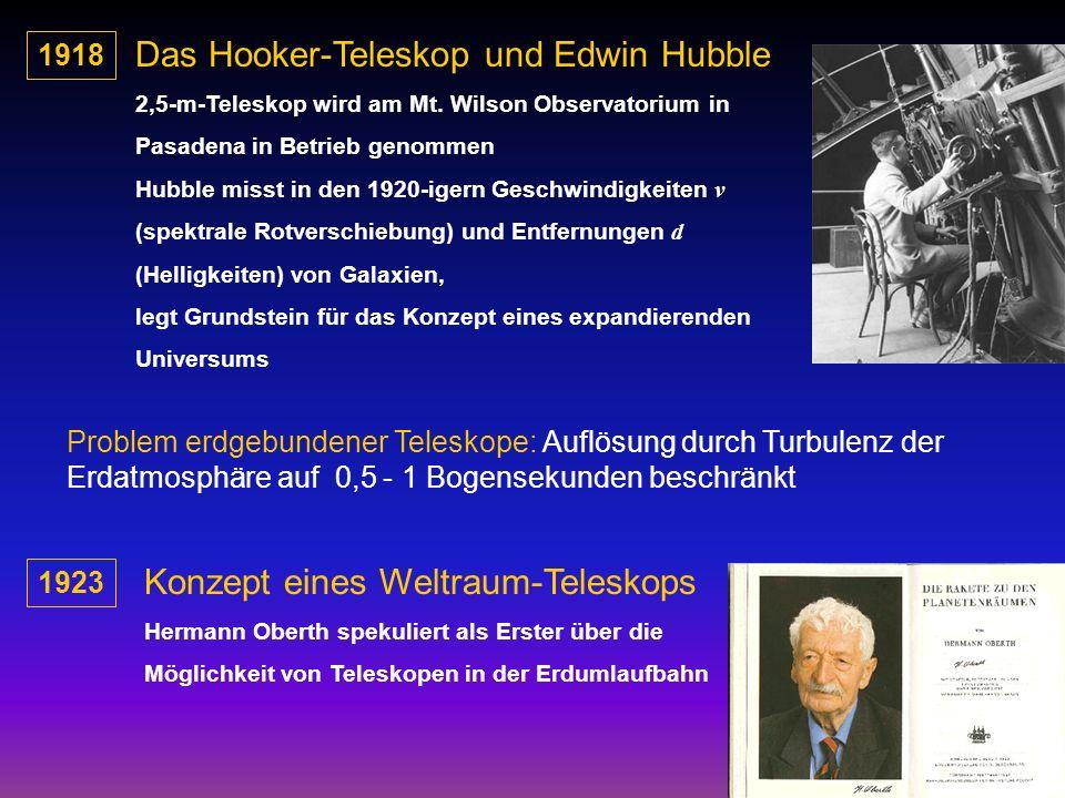 1918 Das Hooker-Teleskop und Edwin Hubble 2,5-m-Teleskop wird am Mt. Wilson Observatorium in Pasadena in Betrieb genommen Hubble misst in den 1920-ige