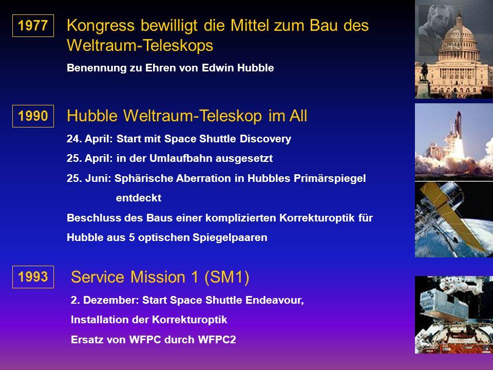 1977 Kongress bewilligt die Mittel zum Bau des Weltraum-Teleskops Benennung zu Ehren von Edwin Hubble 1990 Hubble Weltraum-Teleskop im All 24. April: