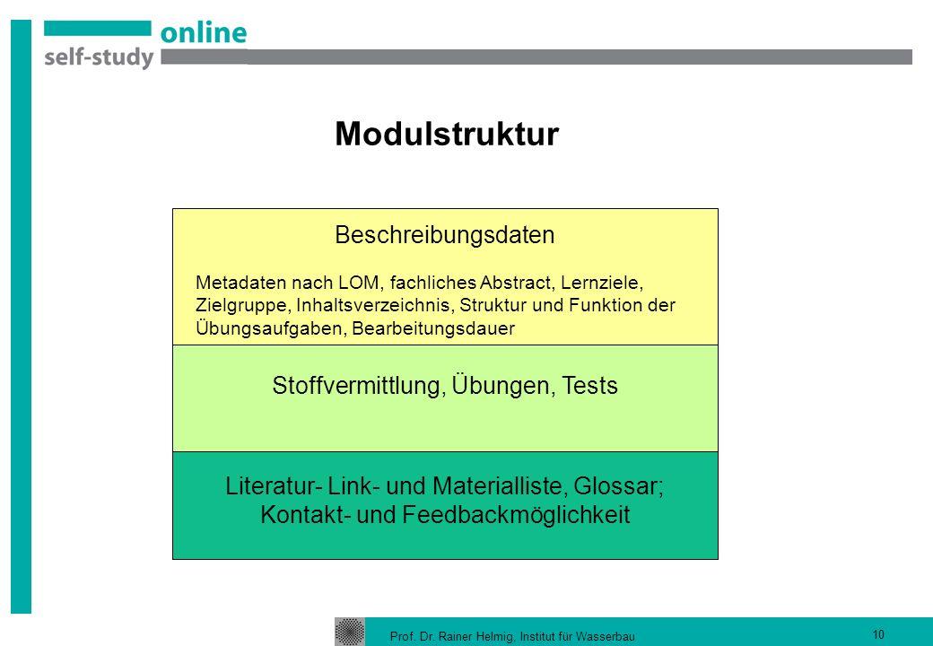Prof. Dr. Rainer Helmig, Institut für Wasserbau 10 Modulstruktur Beschreibungsdaten Metadaten nach LOM, fachliches Abstract, Lernziele, Zielgruppe, In
