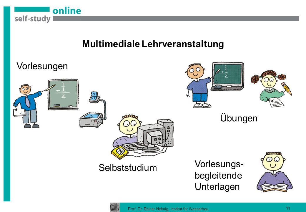 Prof. Dr. Rainer Helmig, Institut für Wasserbau 11 Multimediale Lehrveranstaltung Vorlesungen Vorlesungs- begleitende Unterlagen Übungen Selbststudium