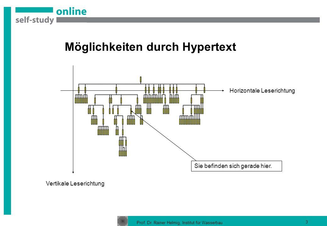 Prof. Dr. Rainer Helmig, Institut für Wasserbau 3 Möglichkeiten durch Hypertext Horizontale Leserichtung Vertikale Leserichtung Sie befinden sich gera