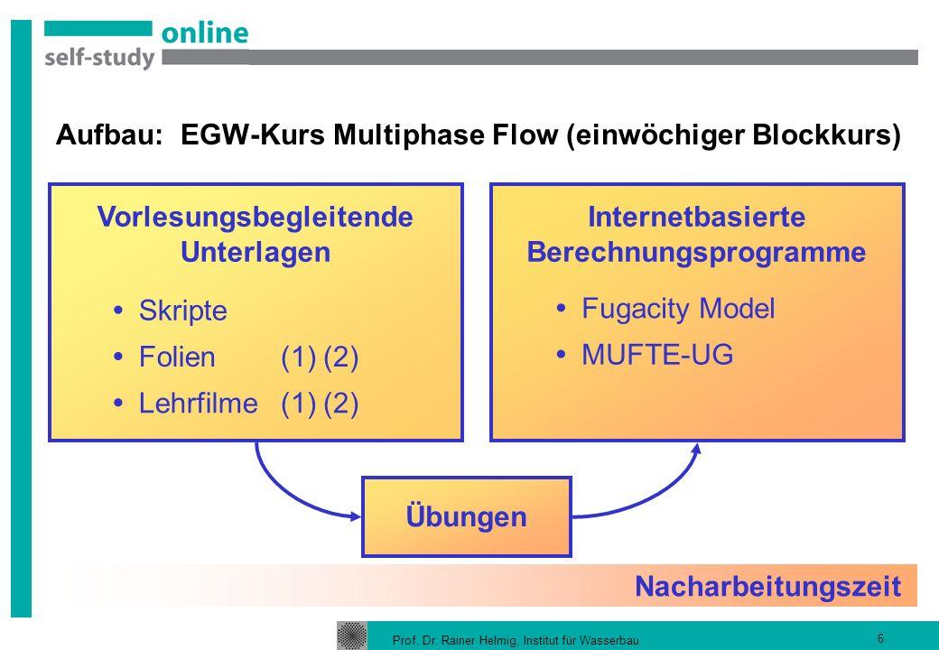Prof. Dr. Rainer Helmig, Institut für Wasserbau 6 Aufbau: EGW-Kurs Multiphase Flow (einwöchiger Blockkurs) Übungen Internetbasierte Berechnungsprogram