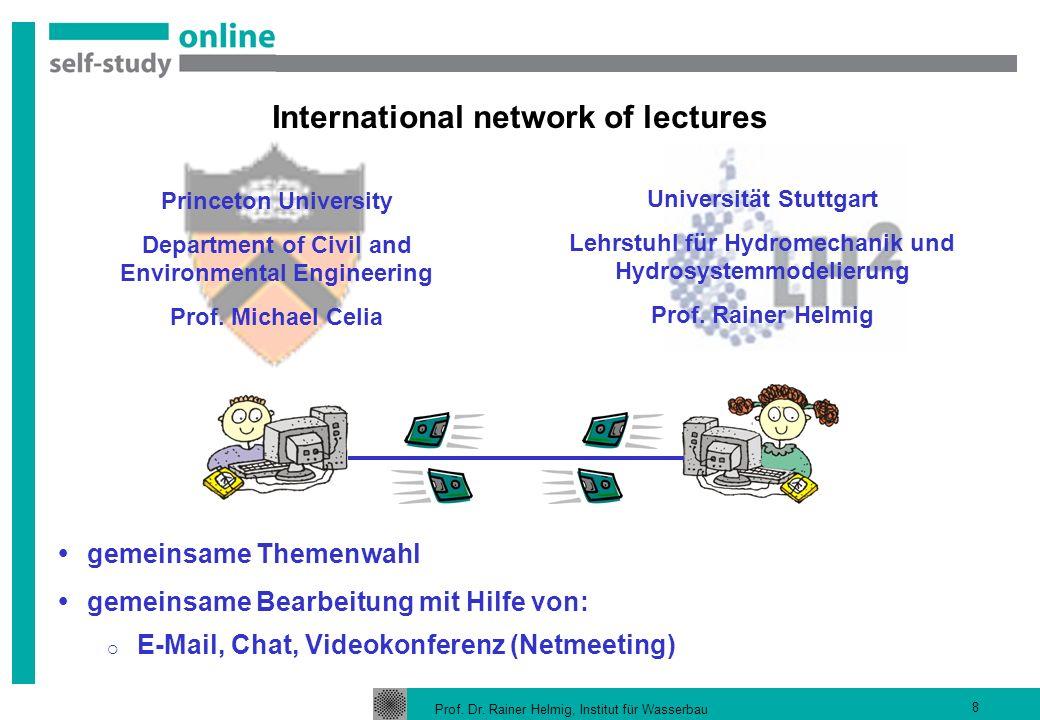 Prof. Dr. Rainer Helmig, Institut für Wasserbau 8 gemeinsame Themenwahl gemeinsame Bearbeitung mit Hilfe von: E-Mail, Chat, Videokonferenz (Netmeeting