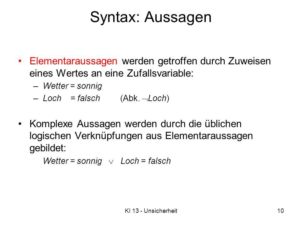 KI 13 - Unsicherheit10 Syntax: Aussagen Elementaraussagen werden getroffen durch Zuweisen eines Wertes an eine Zufallsvariable: –Wetter = sonnig –Loch