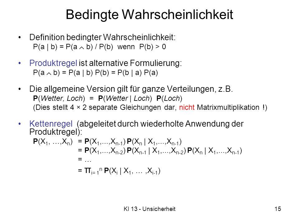 KI 13 - Unsicherheit15 Definition bedingter Wahrscheinlichkeit: P(a   b) = P(a b) / P(b) wenn P(b) > 0 Produktregel ist alternative Formulierung: P(a b) = P(a   b) P(b) = P(b   a) P(a) Die allgemeine Version gilt für ganze Verteilungen, z.B.
