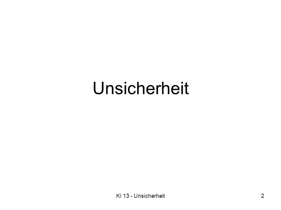 KI 13 - Unsicherheit3 Überblick Unsicherheit Wahrscheinlichkeit Syntax und Semantik Inferenz Unabhängigkeit und Bayessche Regel Beispiel: Wumpus-Welt