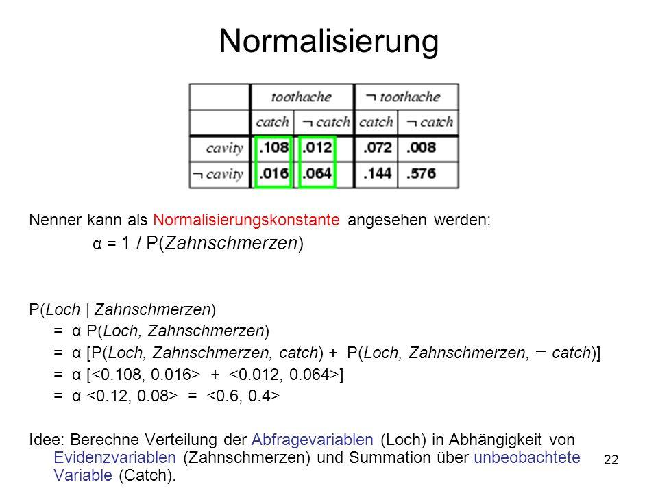 22 Normalisierung Nenner kann als Normalisierungskonstante angesehen werden: α = 1 / P(Zahnschmerzen) P(Loch   Zahnschmerzen) = α P(Loch, Zahnschmerzen) = α [P(Loch, Zahnschmerzen, catch) + P(Loch, Zahnschmerzen, catch)] = α [ + ] = α = Idee: Berechne Verteilung der Abfragevariablen (Loch) in Abhängigkeit von Evidenzvariablen (Zahnschmerzen) und Summation über unbeobachtete Variable (Catch).