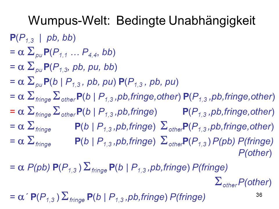 36 P(P 1,3   pb, bb) = pu P(P 1,1 … P 4,4, bb) = pu P(P 1,3, pb, pu, bb) = pu P(b   P 1,3, pb, pu) P(P 1,3, pb, pu) = fringe other P(b   P 1,3,pb,fringe,other) P(P 1,3,pb,fringe,other) = fringe other P(b   P 1,3,pb,fringe) P(P 1,3,pb,fringe,other) = fringe P(b   P 1,3,pb,fringe) other P(P 1,3,pb,fringe,other) = fringe P(b   P 1,3,pb,fringe) other P(P 1,3 ) P(pb) P(fringe) P(other) = P(pb) P(P 1,3 ) fringe P(b   P 1,3,pb,fringe) P(fringe) other P(other) = ´ P(P 1,3 ) fringe P(b   P 1,3,pb,fringe) P(fringe) Wumpus-Welt: Bedingte Unabhängigkeit