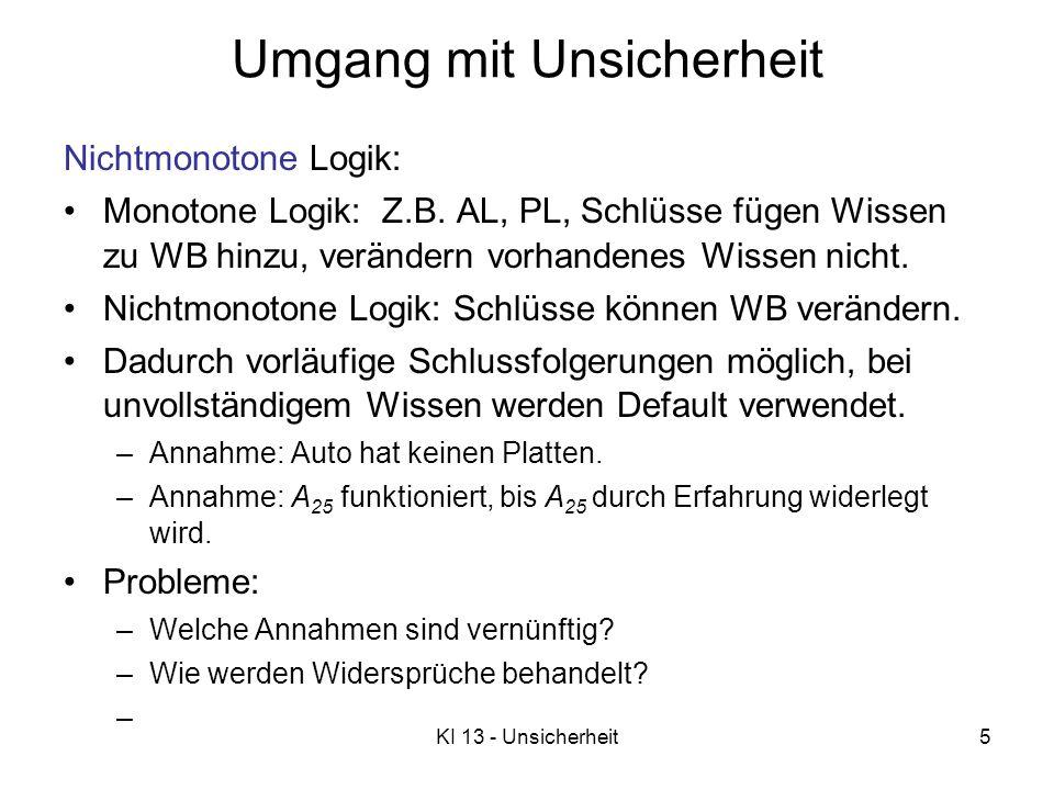 KI 13 - Unsicherheit5 Umgang mit Unsicherheit Nichtmonotone Logik: Monotone Logik: Z.B. AL, PL, Schlüsse fügen Wissen zu WB hinzu, verändern vorhanden