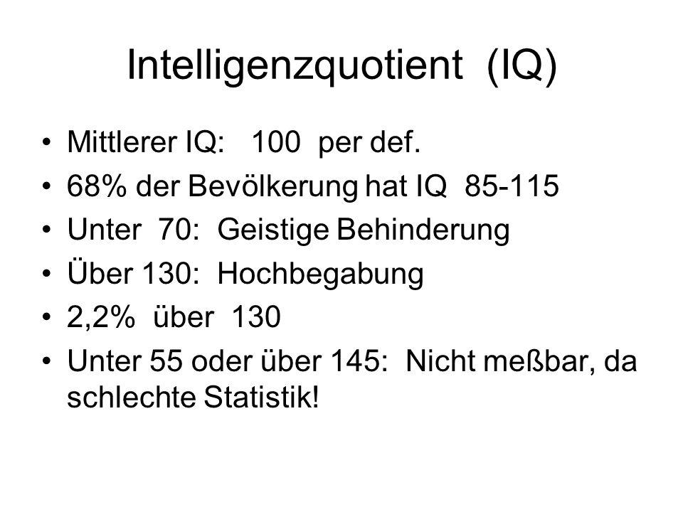 Intelligenzquotient (IQ) Mittlerer IQ: 100 per def.