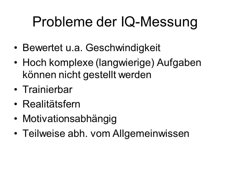 Probleme der IQ-Messung Bewertet u.a.