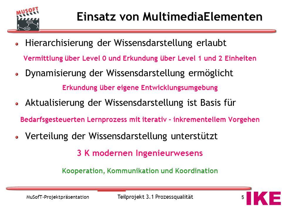 MuSofT-Projektpräsentation Teilprojekt 3.1 Prozessqualität 5 Einsatz von MultimediaElementen Hierarchisierung der Wissensdarstellung erlaubt Vermittlu